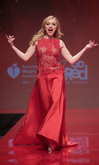 Work that runway! Peyton List sang along as she walked the catwalk during the  American Heart Association's Go Red For Women Red Dress Collection fashion show. 
