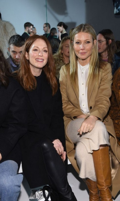 Julianne Moore and Gwyneth Paltrow were cozy in the front row of Calvin Klein.