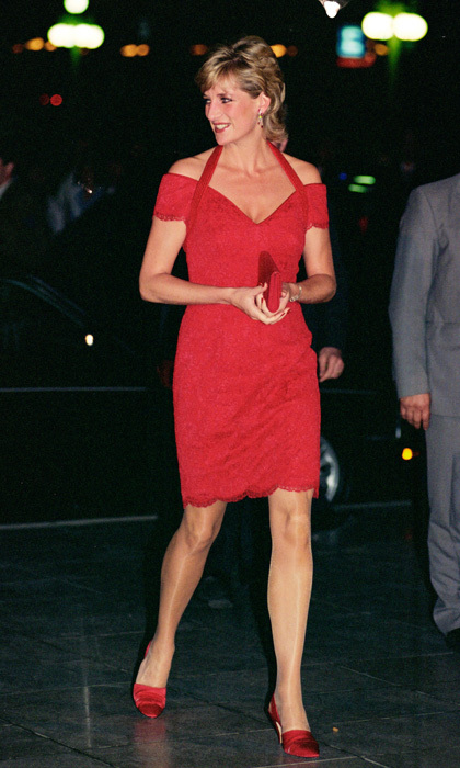 Princess Diana wasn't afraid to flash some skin in a daring red mini number for a dinner in Argentina.