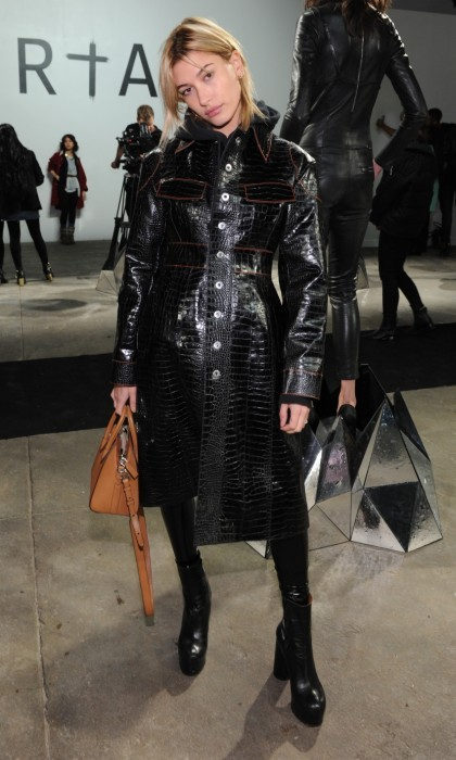 Hailey Baldwin turned heads at the RtA Fall/Winter 2017 show at Industria. The 20-year-old model gave us Matrix vibes in an all black leather ensemble. 