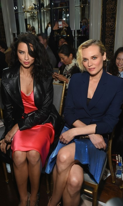 Silk and jackets! Adriana Lima and Diane Kruger were a gorgeous duo as they sat next to each other during the Jason Wu Runway show at the St. Regis. Looking effortlessly gorgeous in red and blue, the stars enjoyed sipping FIJI Water and taking photos of their favorite looks.