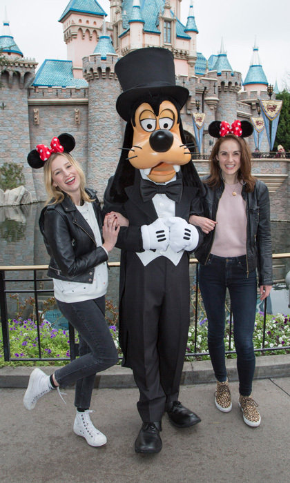 Just plain goofy!  <i>Downton Abbey</i> stars Michelle Dockery and Laura Carmichael reunited in Disneyland visiting the Anaheim theme park for the first time together.
