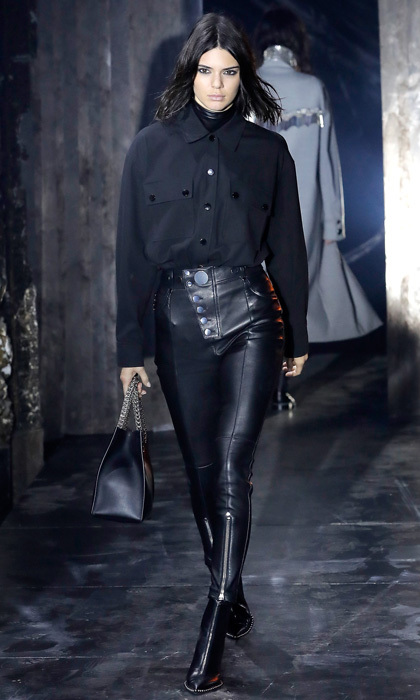 Back in black! Kendall Jenner owned the catwalk at the Alexander Wang show modeling an all-black ensemble.