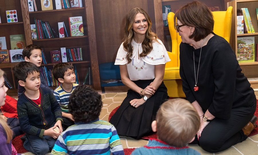 Princess Madeleine of Sweden chatted with young boys and girls during a visit to the Southbank Centre's Imagine Children's festival, where she opened the 'Room for Children' at the Royal Festival Hall in London.