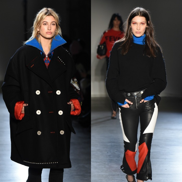 Hailey Baldwin and Bella Hadid looked fierce as they  worked the runway at the Zagdig & Voltaire fashion show held at the Skylight Modern.