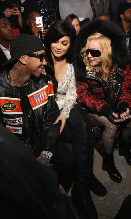 Madonna chatted in the front row of the Philipp Plein fashion show with Kylie Jenner and her boyfriend Tyga.