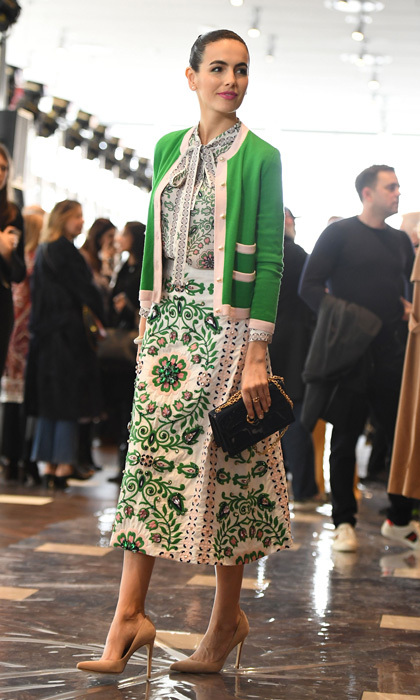 Camilla Belle was a vision in green at the Tory Burch show held at the Whitney Museum of American Art.