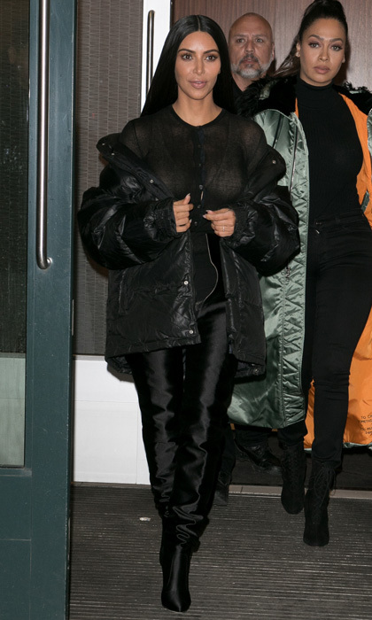 Kim Kardashian West was spotted out in an edgy, all-black ensemble in Manhattan.