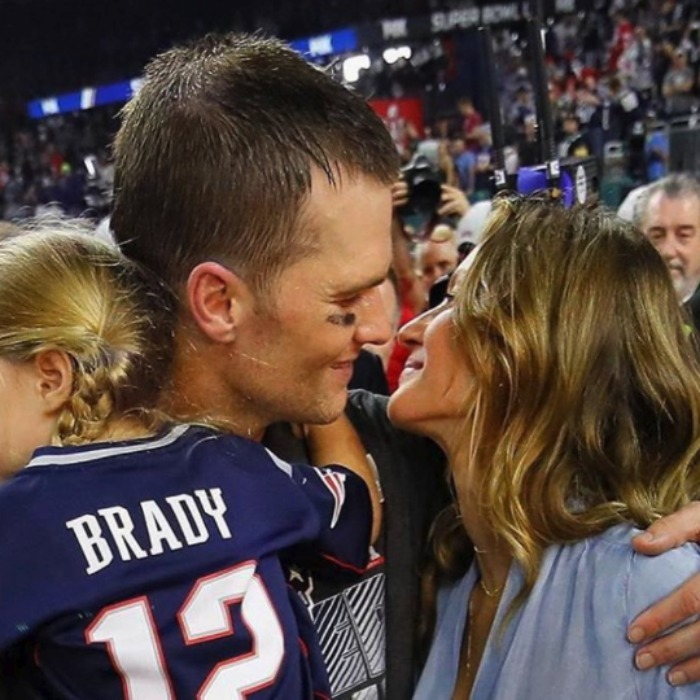 "Tom Brady celebrated his ""littlest valentine, and numero uno,"" daughter Vivian and wife Gisele Bundchen. 