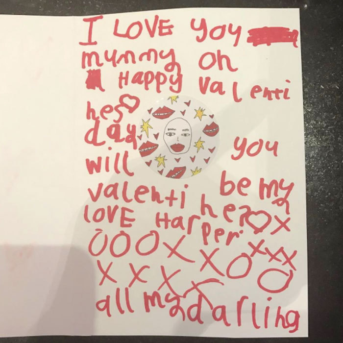 "Victoria Beckham received a sweet card from her ""little Valentine,"" daughter Harper that read: ""I love you mummy. Oh Happy Valentine's Day. Will you be my Valentine? Love Harper.""