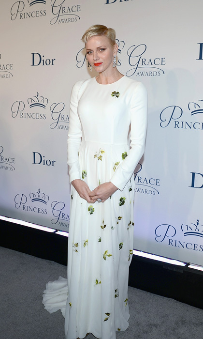 October 2016: Princess Charlene of Monaco exuded elegance wearing a Christian Dior Couture embroidered white silk dress to the 2016 Princess Grace Awards Gala in New York City.