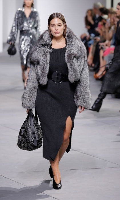 Ashley Graham worked the runway modeling a fur jacket at the Michael Kors show. 