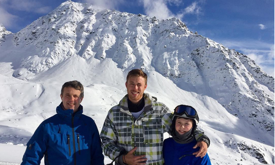 The royal family was joined by Mary's nephew, Alexander Stephens, who posed with his uncle Crown Prince Frederik and cousin Prince Christian on top of a mountain in the Swiss Alps.