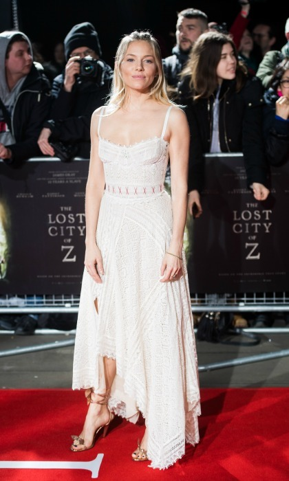 February 16: Sienna Miller stunned in a cream dress during the premiere of <i>The Lost City of Z</i> in London. 