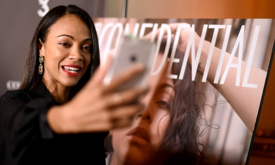 "February 16: Say cheese! <a href=""http://us.hellomagazine.com/tags/1/zoe-saldana/""><strong>Zoe Saldana</strong></a> celebrated her Los Angeles Confidential cover in Beverly Hills. 