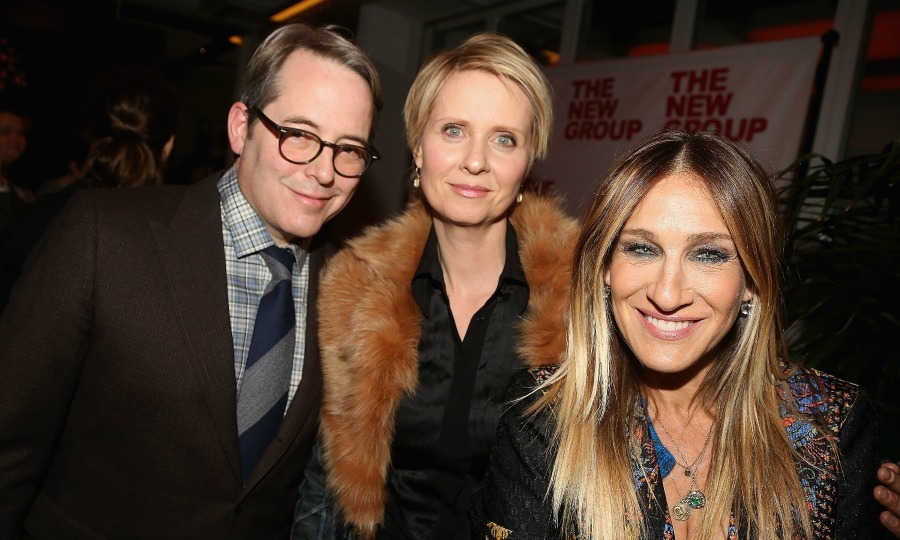 "February 16: Matthew Broderick, Cynthia Nixon and <a href=""http://us.hellomagazine.com/tags/1/sarah-jessica-parker/""><strong>Sarah Jessica Parker</strong></a> posed for a photo at the opening night party for The New Group production of <i>Evening at The Talk House</i> in NYC. 