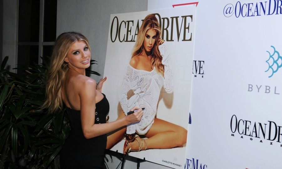 February 15: Cover girl! Ocean Drive magazine celebrated its February Issue with cover star Charlotte McKinney at Byblos Miami.