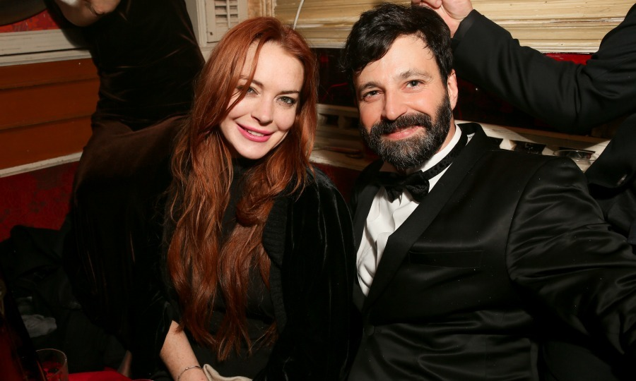February 14: Lindsay Lohan and Simon Hammerstein posed for a photo during the A Decade of Decadence: 10 Year Anniversary at The Box NYC. 