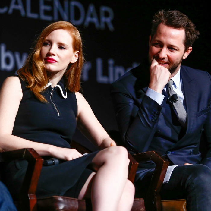 February 13: Jessica Chastain and Derek Blasberg participated in Pirelli's On Beauty panel in NYC. 