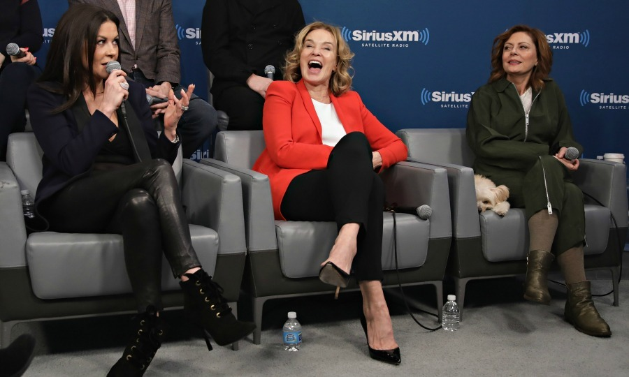 February 13: Ladies first! Catherine Zeta-Jones, Jessica Lange and Susan Sarandon shared some laughs during the  SiriusXM's 'Town Hall' with the cast of <i>Feud: Bette and Joan</i> in NYC. 