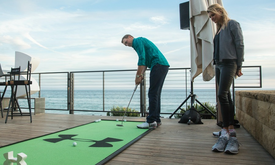 February 13: Jordan Spieth and Kelly Rohrbach showed off their skills in the new Under Armour Spieth One golf shoe in Malibu. 