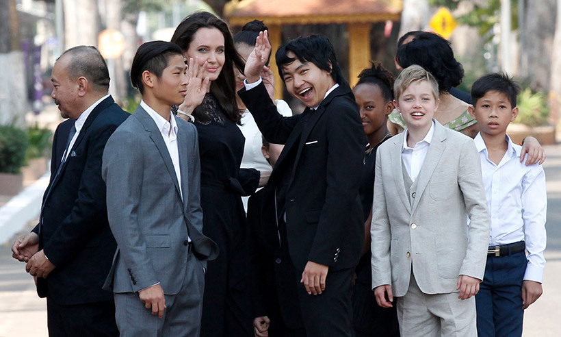 February 18: Angelina Jolie attended the world premiere of her upcoming film <i>First They Killed My Father</i> with her six children, marking their first public appearance since she split from Brad Pitt. The Jolie-Pitt children - Maddox (15), Pax (13), Zahara (11), Shiloh (10) and eight-year-old twins Knox and Vivienne – appeared to be in good spirits as they visited King Norodon Sihamoni at the Royal Palace in Cambodia. Pax especially looked all grown up, wearing a grey suit.