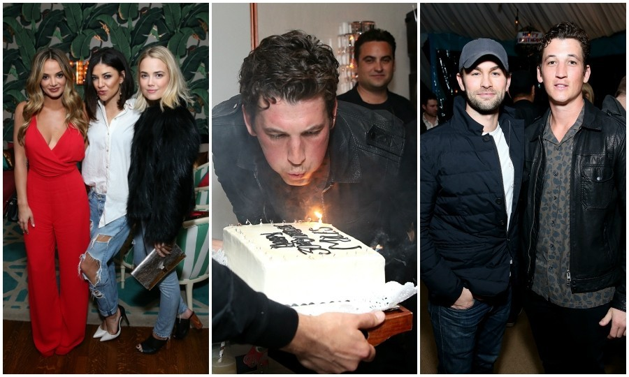 February 18: Miles Teller celebrated his 30th birthday with a star-studded bash. Guests like Nina Dobrev, Chase Crawford, Jessica Szohr, Emile Hirsch and Miles' longtime girlfriend, Keleigh Sperry, turned up at the private residence of Jonas Tahlin, CEO of Absolut Elyx, in L.A. 