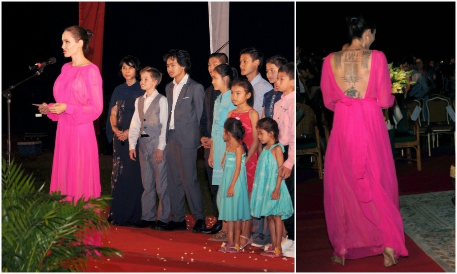February 18: Angelina Jolie stunned in a hot pink chiffon gown at the premiere of her new film, <i>First They Killed My Father</i>. The full-length number showcased her famous back tattoos. The actress was joined by her children and Cambodian royalty at the Elephant Terrace inside the Angkor park in Siem Reap.