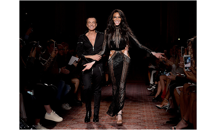 Winnie Harlow helped designer Julien Macdonald take his bow. 