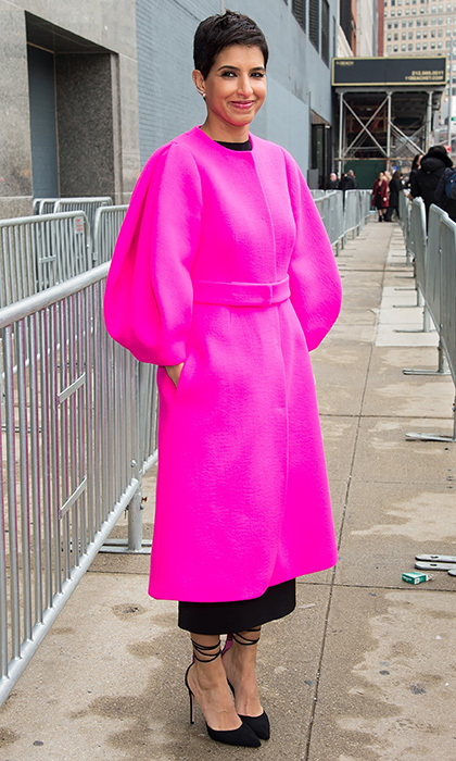 Saudi royal and Vogue Arabia's launch editor-in-chief Princess Deena Aljuhani Abdulaziz added a pop of cheery pink to the scene at Michael Kors' Fall 2017 show in NYC.