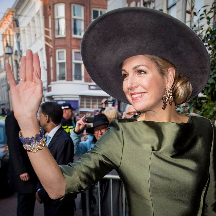 Queen Maxima wowed in a green dress to open the exhibition Royal Paradise - Aert Schulman and the imagination of nature at the Dordrechts Museum.