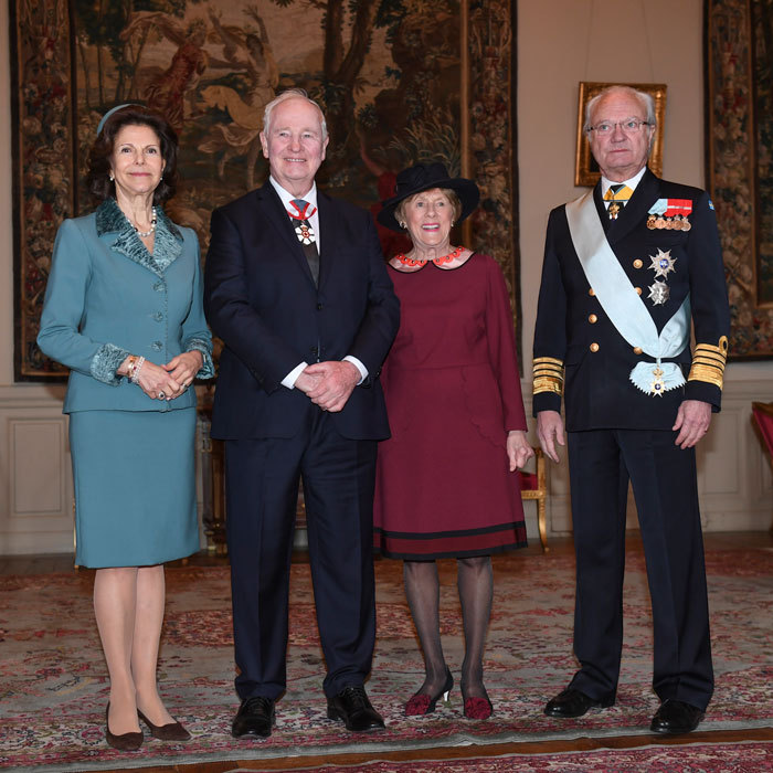 King Carl Gustaf and Queen Silvia of Sweden posed with the Governor General of Canada, David Johnston, and his wife Sharon Johnston at the Royal Palace in Stockholm, Sweden.