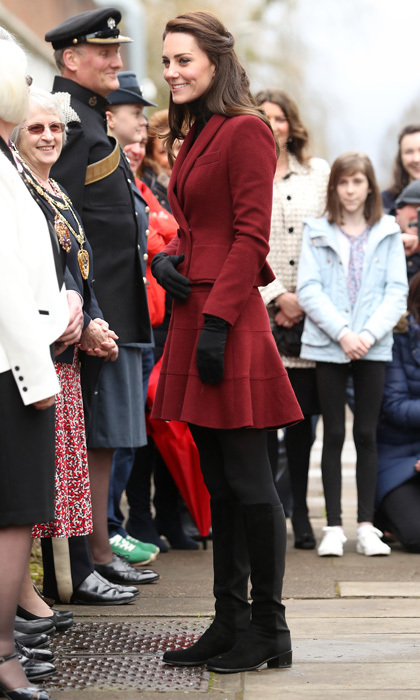The Duchess of Cambridge paid a visit to the child and adolescent mental health project, MIST, wearing a peplum double breasted jacket and matching skirt by Paule Ka.