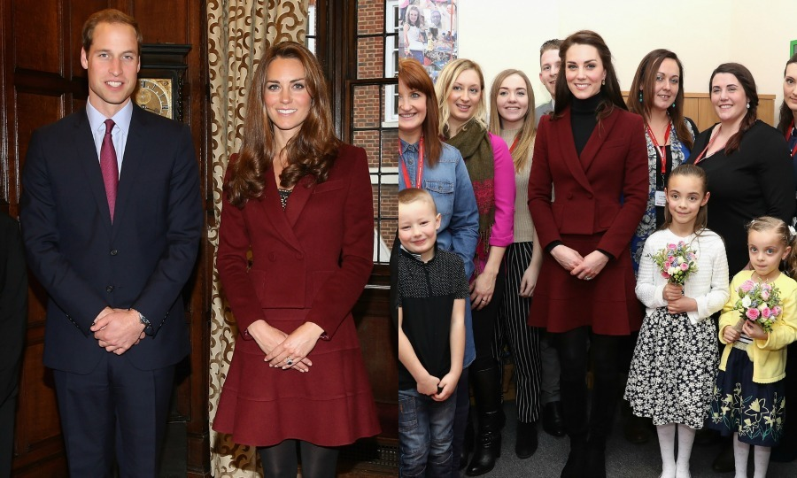 Burgundy never goes out of style! Kate recycled a skirt suit by Paule Ka for a royal engagement in Wales in February 2017. The Duchess first wore the look in 2012 during a meeting with Middle Temple Scholars next to Prince William, where she opted to wear a low-cut shirt under the double-breasted top. 