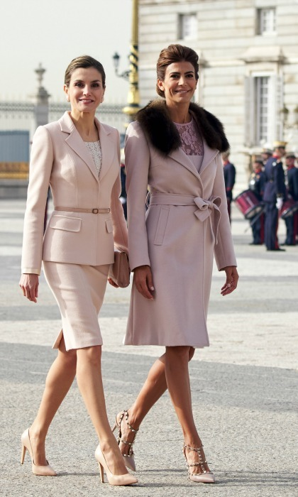 Queen Letizia found an equally stylish partner upon her meeting with Argentinian First Lady Juliana Awada. Both ladies wore blush pink as they strolled the royal palace in Madrid. 