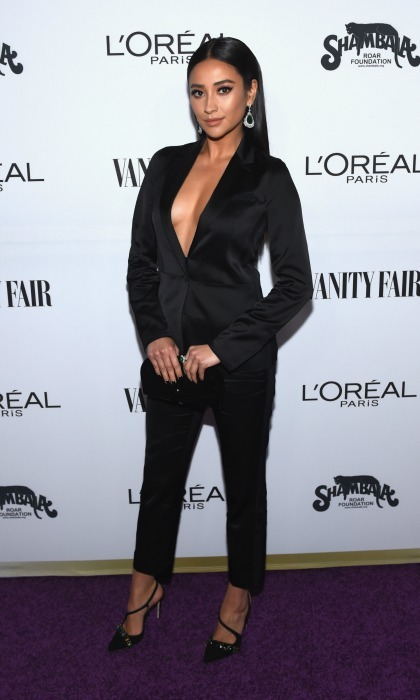 February 21: Shay Mitchell took the plunge in an all black suit during the Vanity Fair and L'Oreal Paris Toast to Young Hollywood party in West Hollywood. 