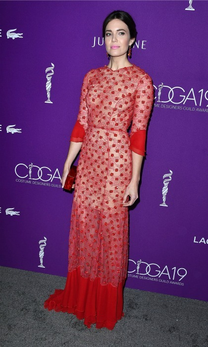 February 21: Red hot! Mandy Moore had the right look in a red dress by Jenny Packham during the 19th annual CDGA (Costume Designers Guild Awards) at The Beverly Hilton Hotel in Beverly Hills. 