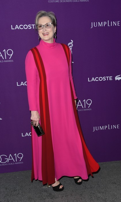 February 21: Meryl Streep mixed pink and red during the 19th CDGA (Costume Designers Guild Awards) at The Beverly Hilton Hotel in Beverly Hills. 