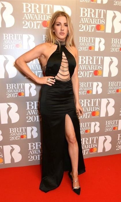 February 22:   Ellie Goulding showcased her stems in a black dress with a thigh-high slit during the 2017 BRIT Awards in London. 