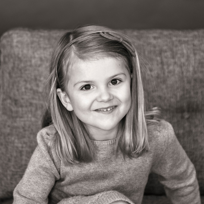 February 2017: In honor of Princess Estelle's fifth birthday on February 23 the Swedish Royal Court released two black and white portraits of the future Queen.