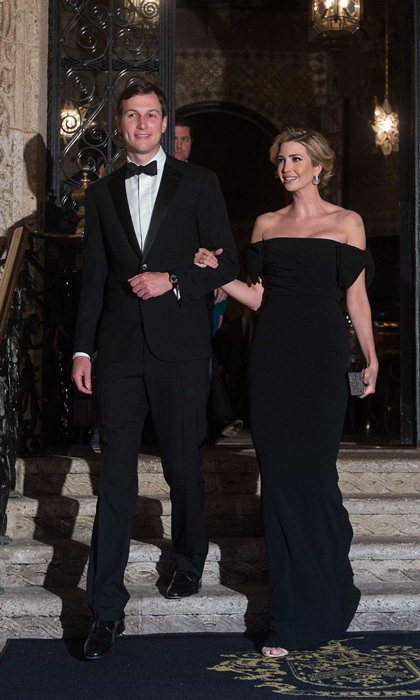 Ivanka turned heads in an off the shoulder bow gown by Dolce & Gabbana for a night out at President Trump's Mar-a-Lago resort in Palm Beach, Florida.