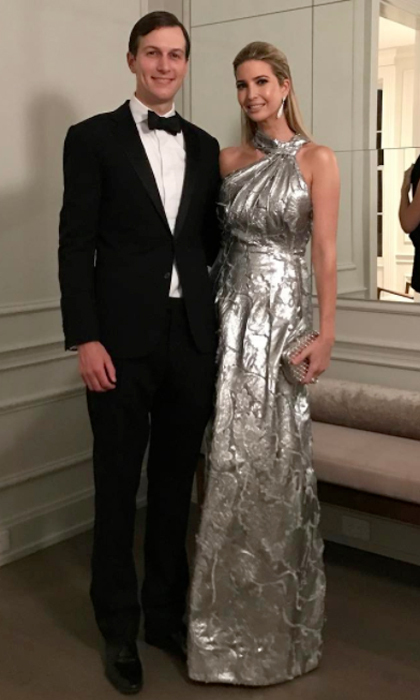 The businesswoman shined wearing a metallic jacquard gown by Carolina Herrera to the 2017 Alfalfa Club dinner.
