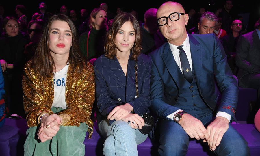 Charlotte Casiraghi sparkled wearing a gold sequin blazer beside Alexa Chung and Marco Bizzarri at the Gucci fashion show during Milan Fashion Week Fall/Winter 2017/18.