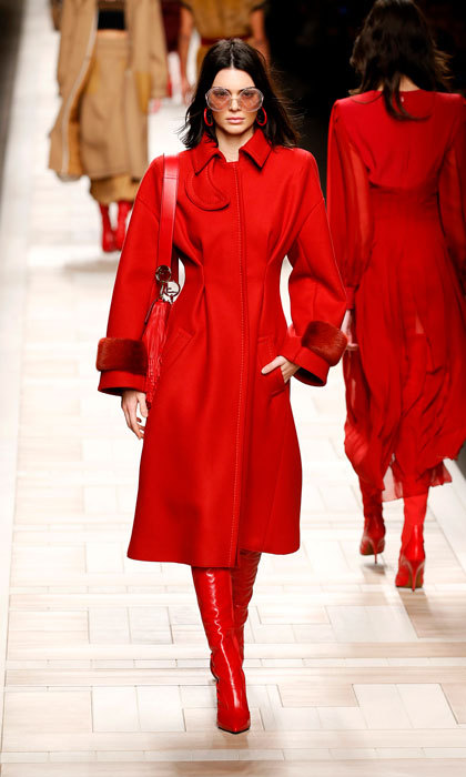 Kendall Jenner was the lady in red walking the runway at the Fendi designed by Silvia Venturini Fendi & Karl Lagerfeld fashion show.