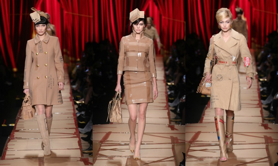 Cardboard couture! Bella Hadid, Kendall Jenner and Gigi Hadid were a package deal on the cardboard runway during the Moschino fashion show.