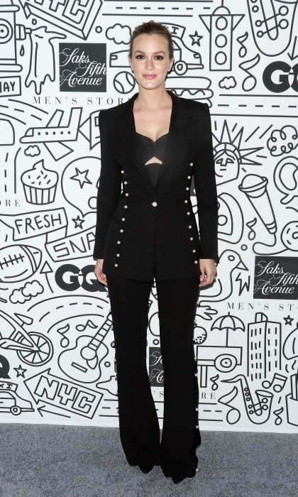 February 22: Back in black! Leighton Meester wore an all black Prabal Gurung Resort pantsuit embellished with pearls during her night out at the Saks Downtown Men's opening in NYC. 