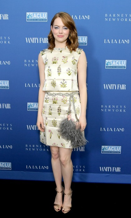 February 22: Emma Stone showed off her Hollywood style in a Giambattista Valli ensemble during the Vanity Fair and Barneys New York private dinner in celebration of <i>La La Land</i> in L.A. 