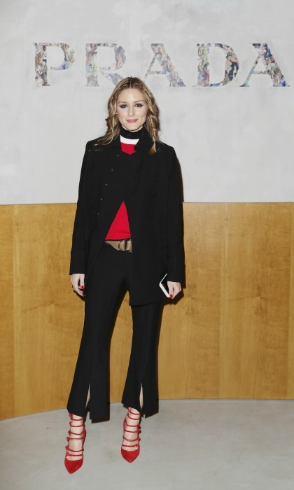 Olivia Palermo wore black and red during the Prada show. 