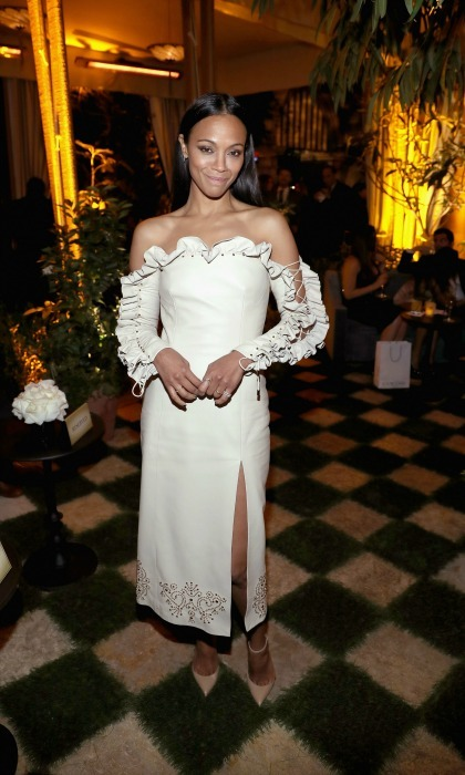 "February 23: New mama <a href=""http://us.hellomagazine.com/tags/1/zoe-saldana/""><strong>Zoe Saldana</strong></a> had a night out at the Cadillac Oscar week celebration at Chateau Marmont in West Hollywood.