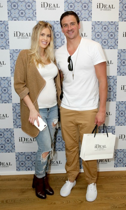 February 23: Ryan Lochte and his fiancée Kayla Rae Reid did some shopping at the Kari Feinstein's Pre-Oscar Style Lounge at the Andaz Hotel in L.A. 